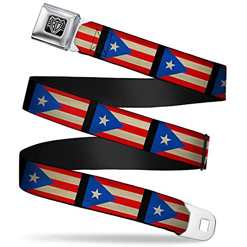 Buckle-Down Unisex-Adult's Seatbelt Belt Puerto Rico Regular,  Flag Weathered, 1.5
