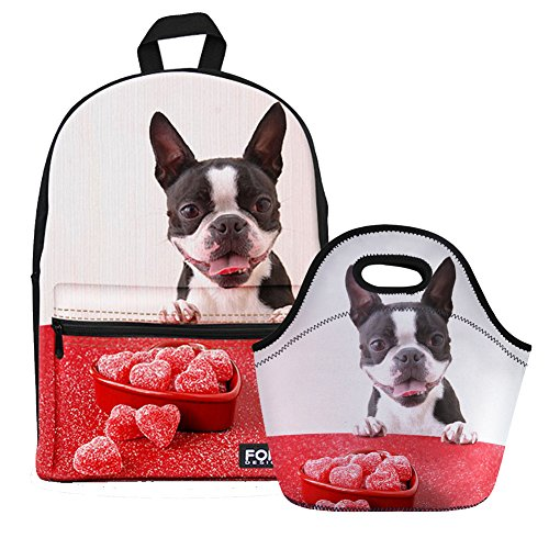 - Bigcardesigns Canvas School Backpack with Neoprene Lunch Bag 2 Pcs Set Boston Terrier Printed