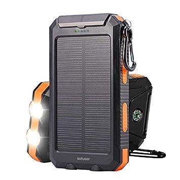 Soluser 10000mAh Portátil Batería Externa Solar Batería de Emergencia Cargador Solar IP67 Resistente al Agua 2 Puertos USB Solar Power Bank Cargador ...