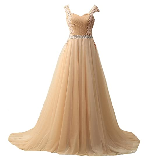 WAWALI Tulle Lace Embroidery Prom Dresses Evening Party Gowns 6 Champagne