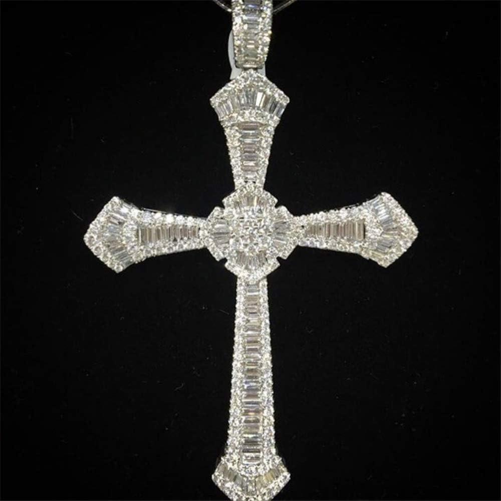 VAWAA 14K Oro Blanco Largo Diamante cz Cruz Colgante 925 Plata de Ley Fiesta Boda Colgantes para Mujeres Hombres Piedras Preciosas joyería