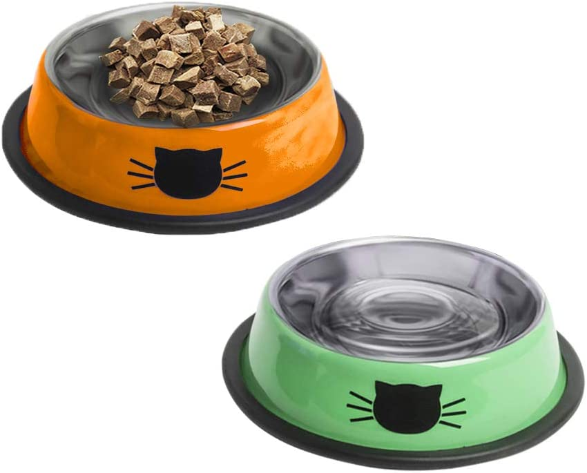 YATAOME Cat Food and Water Bowls Set Metal Stainless Steel Non-Skid Rubber Base Easy to Clean Pet Dry or Wet Food Dish with Cute Pattern for Small Dogs Kitten Puppy Rabbits, 2 Pack (Orange, Green)