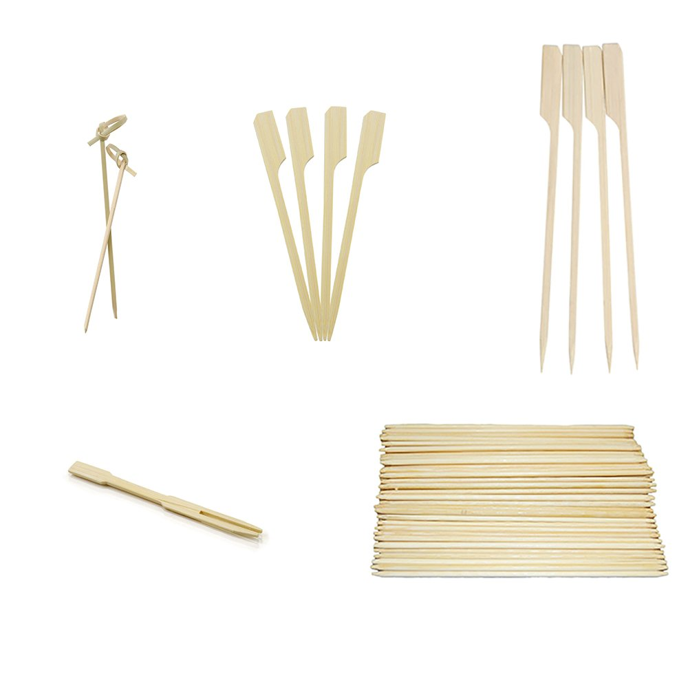 Perfect Stix Cocktail Party Kit-500ct, Each 4'' Bamboo Knots, 3.5 Mini Bamboo Forks. 3.5'' Paddle Picks, 5.5'' Double Ended Skewers, and 6'' Paddle Picks (Pack of 500)