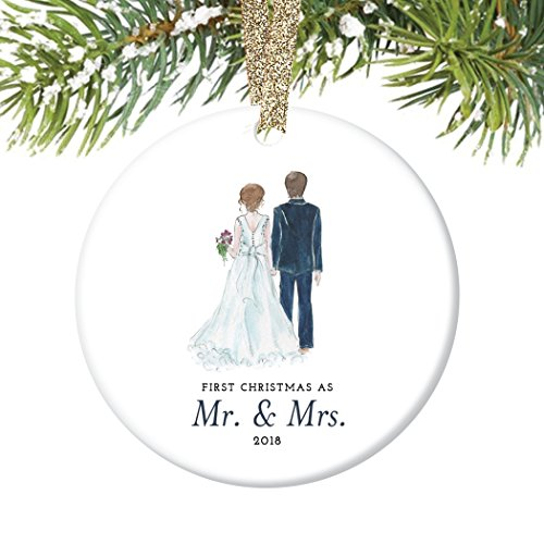 Bride & Groom Ornament 2018, First Christmas as Mr. & Mrs. Ornament, First Married Christmas, Wedding Gift 3