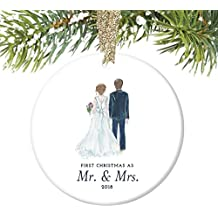 """Bride & Groom Ornament 2018, First Christmas as Mr. & Mrs. Ornament, First Married Christmas, Wedding Gift 3"""" Flat Circle Porcelain Ornament w Glossy Glaze, Gold Ribbon & Gift Box   OR00314 Taylor"""
