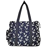 Ever Moda Anchor Print Extra Large Tote Bag with Coin Purse, Blue and White