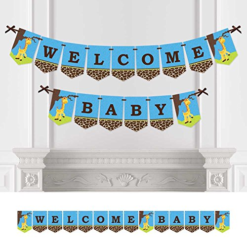 Big Dot of Happiness Giraffe Boy - Baby Shower Bunting Banner - Blue Party Decorations - Welcome Baby]()
