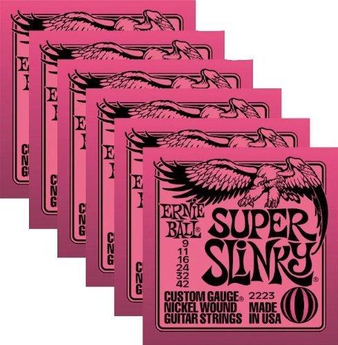 (Ernie Ball 2223 Nickel Super Slinky Pink Electric Guitar Strings 6)