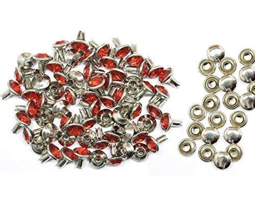 8Mm Diamante Rivet Studs For Leather Crafts With Red Coloured Acrylic Rhinestones - Perfect For Belts, Bags Or Dog Collars (Pack Of ()