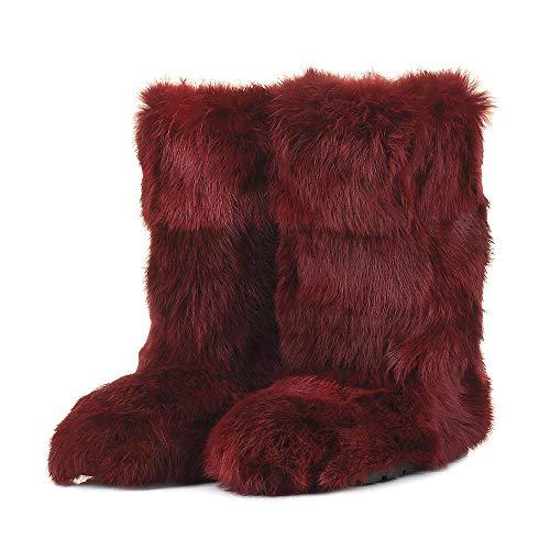 Red Rabbit Boots for Women, Mukluk Boots, Yeti Boots, Different Color Rabbit Fur Boots, Long Boots, Winter Boots, Girlfriend Gift, LITVIN (Rabbit Fur Mukluk)