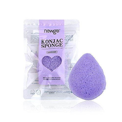 NEWGO Konjac Sponge Natural Exfoliating Sponge for Face, Lavender Face Cleaning Sponge for Sensitive Skin for Men & Women, Beauty Sponge for All Skin Type, Individually Wrapped-Water Drop