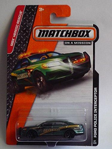 Matchbox 2014 MBX Heroic Rescue Ford Police Interceptor Taurus Green - Ford Car Taurus Police
