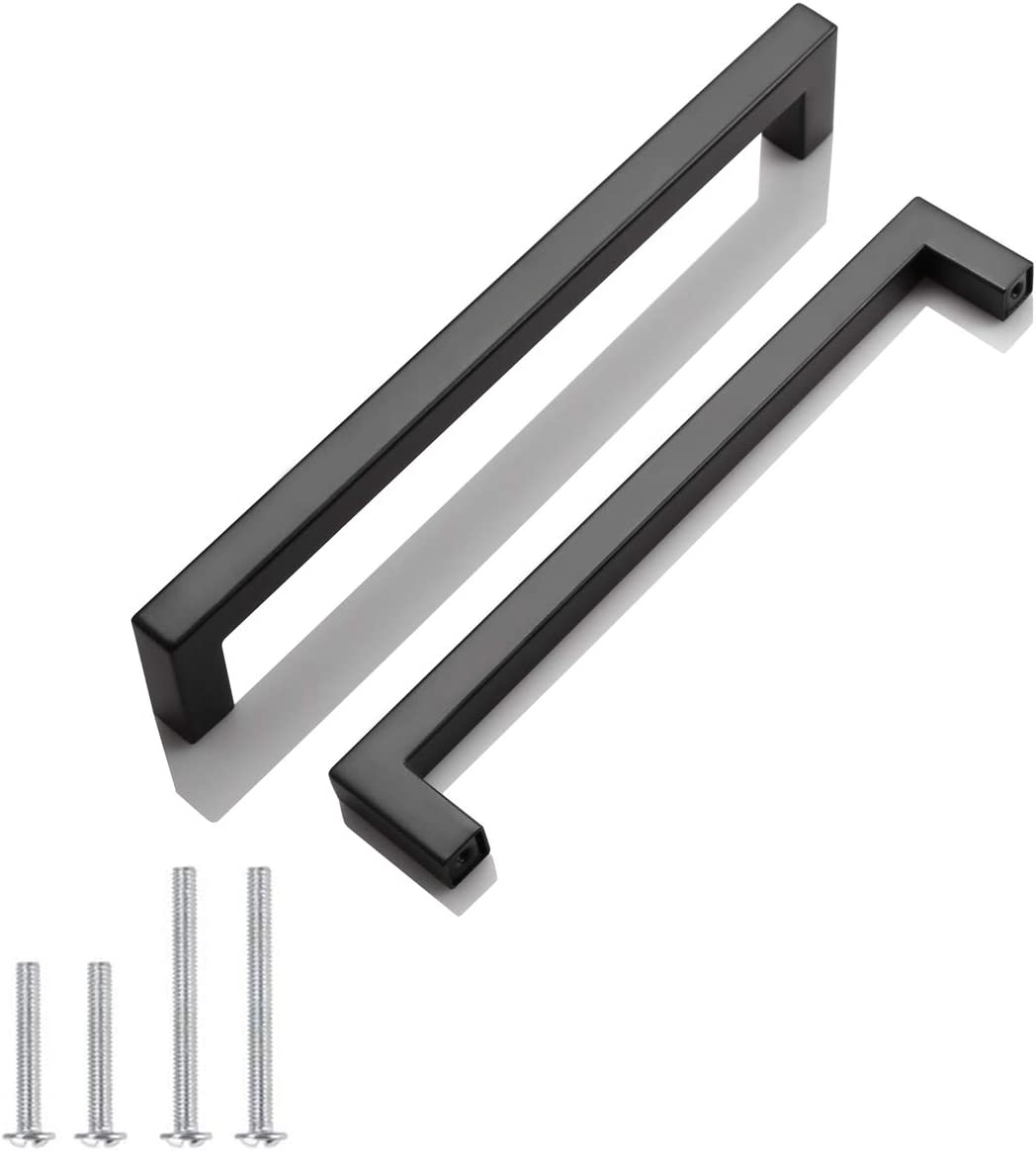 30 Pack Probrico Black Stainless Steel Square Corner Bar Cabinet Door Handles Drawer Pulls Knobs 1/2 in Width Hole Centers 7-1/2 inch 192mm