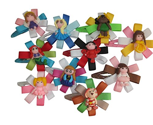 Price comparison product image 10pc Boutique Hair Clips for Kids Children Women Teens & Toddlers Grosgrain Ribbon w/ Alligator Clips Perfect Hair Accessories for Girls Of Any Age Great Accent for Pigtails Or as a Fashion Headband Addition Makes a Fantastic Gift