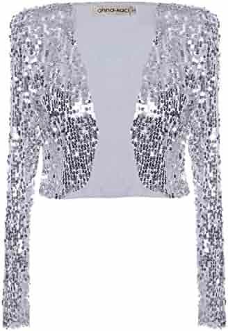3737f26fd097 Anna-Kaci Womens Shiny Sequin Long Sleeve Cropped Blazer Bolero Shrug