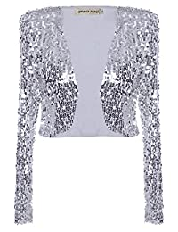 Anna-Kaci Womens Glitter Sequins Long Sleeve Cropped Bolero Vest Jacket