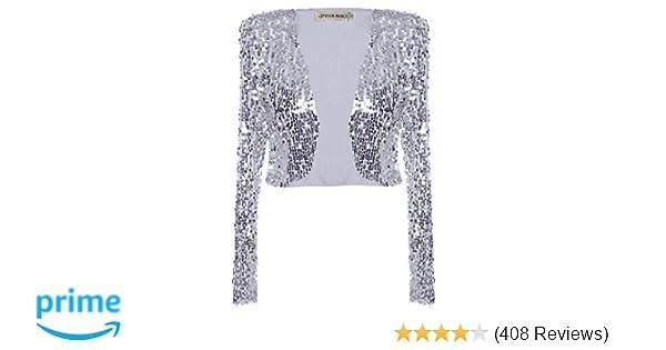 469a59cdd50 Anna-Kaci Womens Shiny Sequin Long Sleeve Cropped Blazer Bolero Shrug at  Amazon Women s Clothing store  Blazers And Sports Jackets