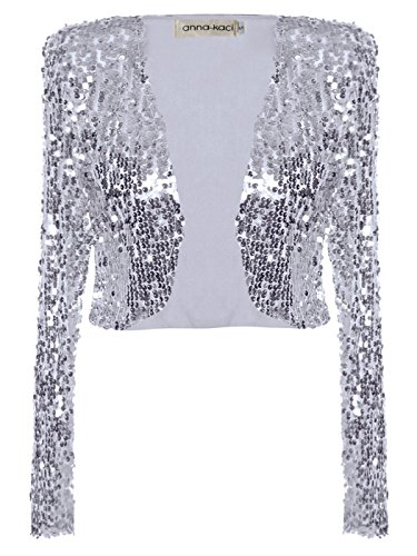 Anna-Kaci Womens Shiny Sequin Long Sleeve Glitter Cropped Blazer Bolero Shrug, Silver, Small