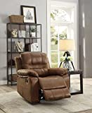 Leatherette Rocker Recliner In Dark Brown