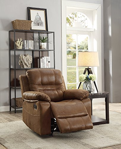 Leatherette Rocker Recliner In Dark Brown by Poundex