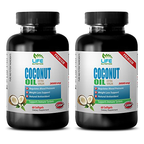 weight loss help - COCONUT OIL 3000 MG - EXTRA VIRGIN - coconut oil wilderness family naturals - 2 Bottles (120 Softgels)