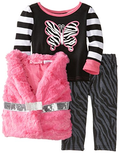 - Young Hearts Baby Girls' 3 Piece Butterfly Zebra Print Vest And Pant Set, Pink, 24 Months