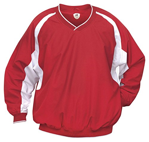 Badger Windshirt (Badger Adult Hook Windshirt, Red/Wht, Medium)