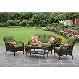 Better Homes and Gardens Azalea Ridge 4-Piece Patio Conversation Set - Green