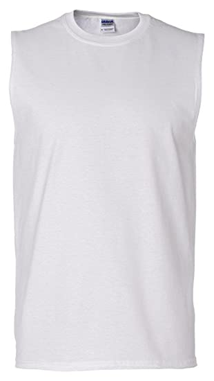 cc3bd1e7caeb8 Gildan Ultra Cotton 6 oz. Sleeveless T-Shirt (G270)- WHITE