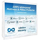 Waterproof Mattress Protector - Everlasting Comfort Twin Size 100% Waterproof Mattress Protector and 1 Free Pillow Protector by Complete Set, Hypoallergenic, Breathable Membrane