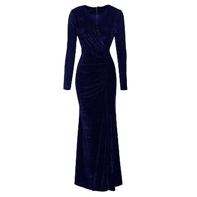 0c85662b772 Vertvie Damen Kleid Herbst Winter Langarm Samt Velvet Vintage Elegant  Maxikleid Partykleid Cocktailkleid mit V-