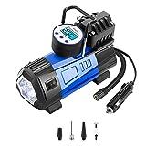 DEKO Portable Air Compressor Pump, 12V 140 PSI Digital Tire Inflator,Preset Pressure Shut Off Gauge for Cars, Bikes and Sports Equipment