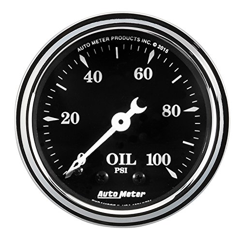 (AutoMeter 1721 Old Tyme Black Mechanical Oil Pressure Gauge 2-1/16 in. Black Dial Face White Pointer White Incandescent Lighting Mechanical 0-100 PSI Old Tyme Black Mechanical Oil Pressure Gauge)