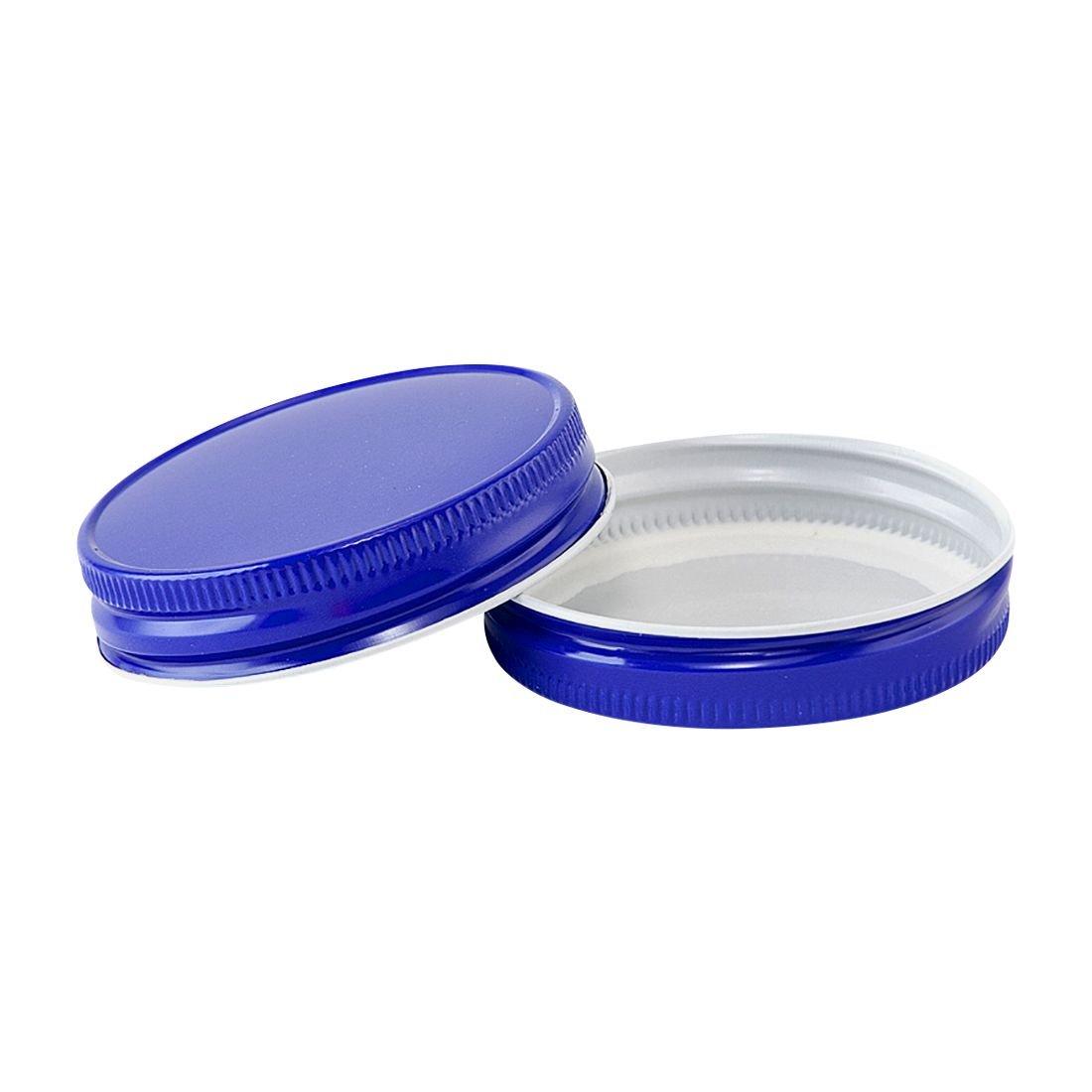 North Mountain Supply Regular Mouth Metal One Piece Mason Jar Lids - Flat Top - Pack of 72 - Royal Blue
