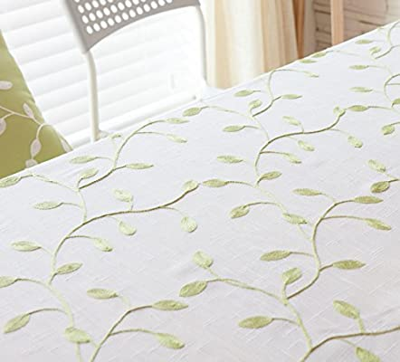 Bordado Manteles Poliéster-algodón Tela Mantelito Estilo Pastoral Europeo Simple Toallas Cubiertas Manteles Ropa Multiusos Tallas Grandes,White-100×140cm