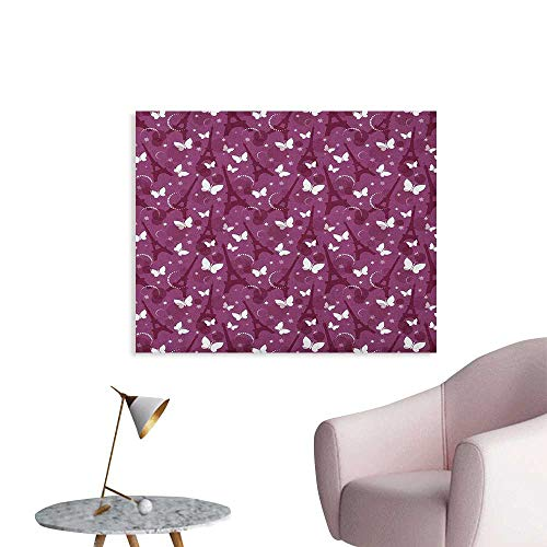 Anzhutwelve Eiffel Art Decor Decals Stickers Abstract Composition with Towers White Butterflies and Stars Ethereal Display The Office Poster Violet Plum White W48 xL32]()