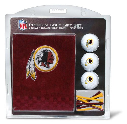 (Team Golf NFL Washington Redskins Gift Set Embroidered Golf Towel, 3 Golf Balls, and 14 Golf Tees 2-3/4