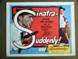 FW42 Suddenly FRANK SINATRA Title Lobby Card FILM NOIR. This is a lobby card NOT a video or DVD. Lobby cards were displayed in movie theaters to advertise the film. Lobby cards measure 11 by 14 inches.