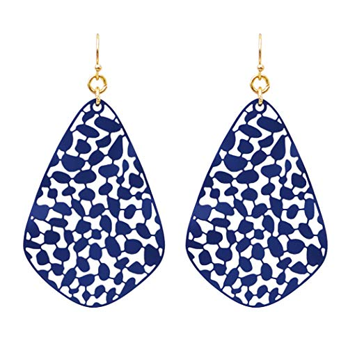Rosemarie Collections Women's Large Wavy Teardrop Filigree Dangle Earrings (Navy) ()