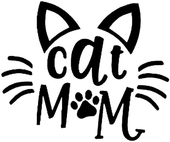 Cat Mom Ears Wiskers Paw Print Decal Vinyl Sticker Cars Trucks Vans Walls Laptop  Black  5.5 x 4.6 in DUC400