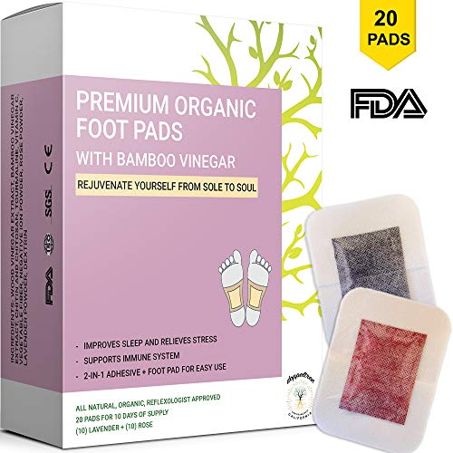 Detox Foot Pads to Remove Toxins, for Body Cleansing, Better Sleep, Stress & Pain Relief | Upgraded 2-in-1 Patches with Organic Bamboo Vinegar | Designed in San Francisco | ()