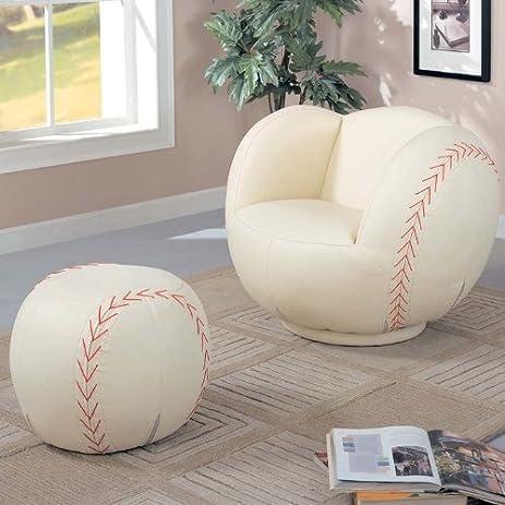 Baseball Kidu0027s Novelty Chair And Ottoman Set