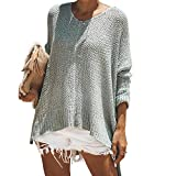 Exlura Women's Off Shoulder Casual V Neck Sheer Loose Oversized Pullover Sweater High Low Knitted Jumper