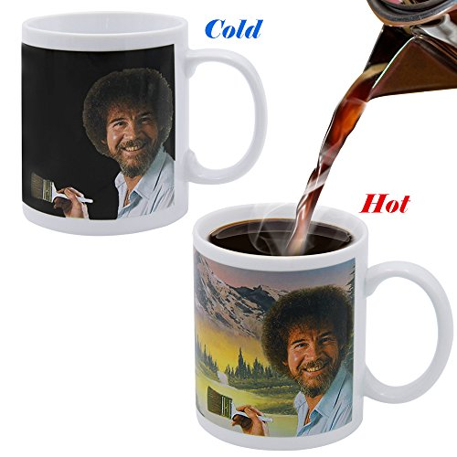 BOBOO Heat Changing Coffee Mug Bob Ross Cup 11-oz Natural Scenery Hiding on Black Surface Funny Painting Simplest - Mug Changing