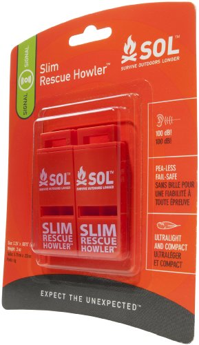 S.O.L. Survive Outdoors Longer Slim Rescue Howler Whistle (2 Count)