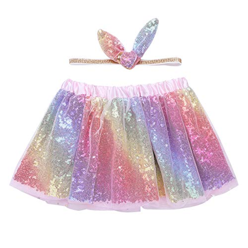 dPois Toddlers Kids Girls' Birthday Party Shiny Sequins Pastel Tutu Skirt with Headband Outfit Two-Pieces Set Colorfu&Pinkl 4-5 ()