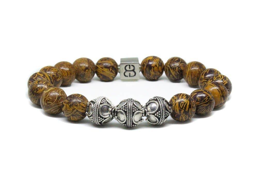 Elephant Skin Jasper Bracelet, Men's Silver Bracelet, Designer Beads Bracelet Men Men's Silver Bracelet