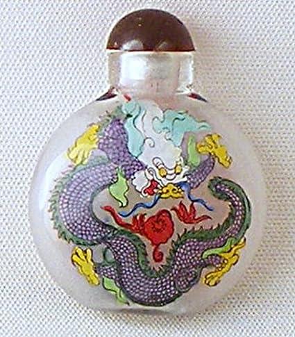 Botella de cristal decorado con dragones tabaqueras