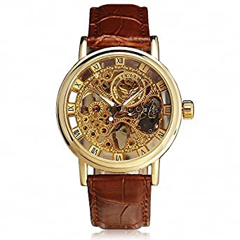 Review SEWOR Men's Retro Elegant Mechanical Wrist Watch Leather Strap Three Hands Roman Number Transparent Dial Skeleton Concise +Box