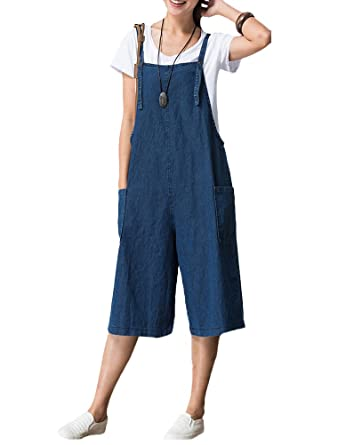 5dbc4b485d476 Mallimoda Women's Summer Baggy Dungarees Strap Culotte Jumpsuit Cropped  Playsuit Trousers Pants Overalls Style 1-